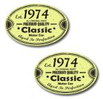 PAIR Distressed Aged Established 1974 Aged To Perfection Oval Design Vinyl Car Sticker 70x45mm Each